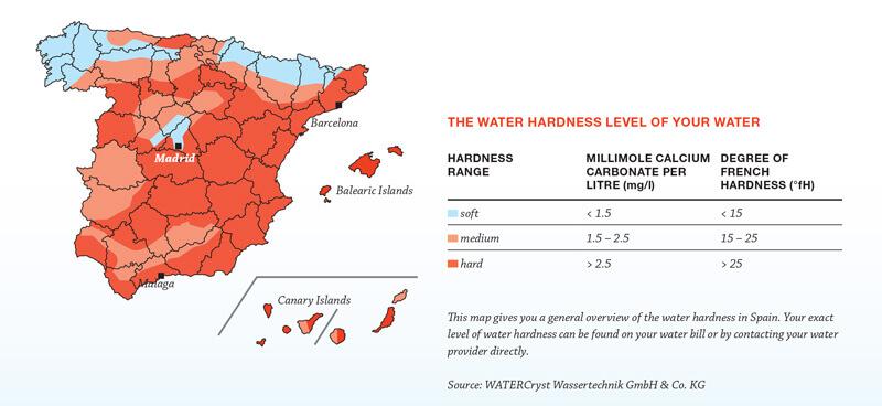 Dureza del agua en españa mapa
